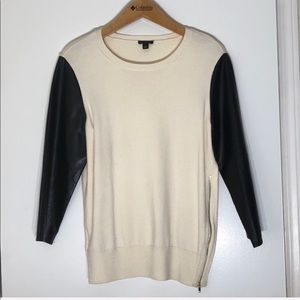 Ann Taylor Sweater Faux Leather Sleeves
